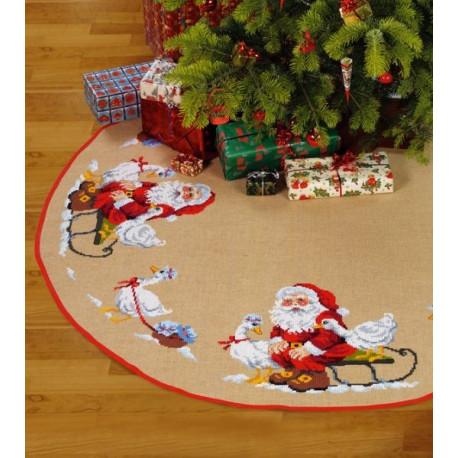 Juletræstæppe:Maxi nisse med gæs