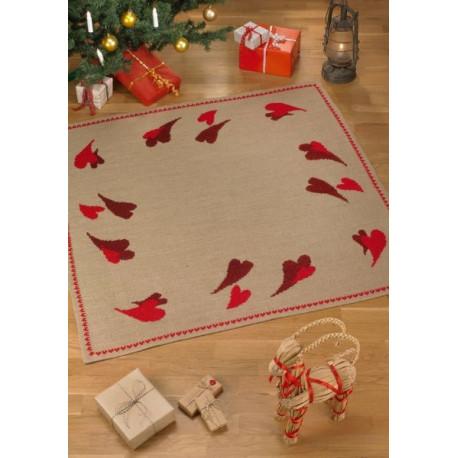 Juletræstæppe med hjerter