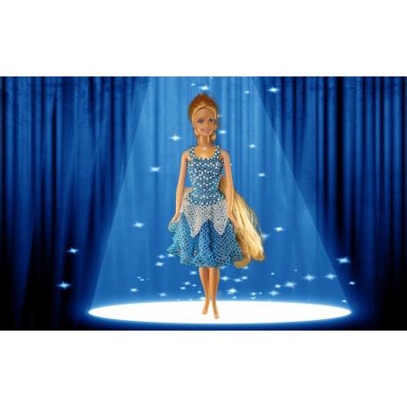 N1801 Barbie dukke med blå kjole