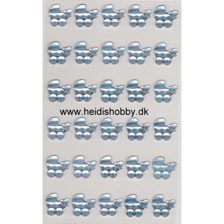 Stickers lyseblå barnevogn