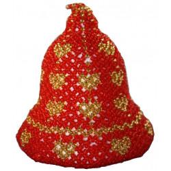 Begynder perlepakning N2 Massiv juleklokke 8 cm med hjerte
