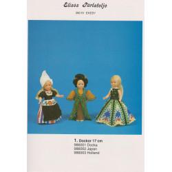 Perlemønster nr. 986002  Japansk dukke 17 cm Elises -brugt-