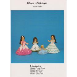 Brugt 1986 Elises nr. 986004 dukke med rosa kjole 17 cm