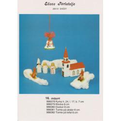 Perlemønster nr. 986079 klokke med nissedans 8 cm Elises -brugt-