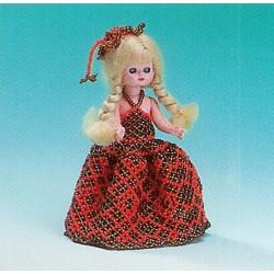 ILA perlemønster 15 cm dukke, brun/orange kjole