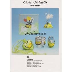 Perlemønster nr 988042 glas med kyllinger Elises -brugt-