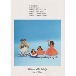 Brugt 1984 Elises nr. 984028 perleopskrift  9 cm dukke rød/hvid/blå kjole