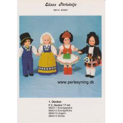 Brugt 1985 Elises nr. 985012 nationaldragt Dalarna pige 17 cm dukke