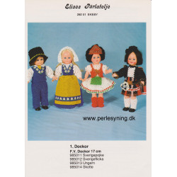 Perlemønster nr. 985012  pige 17 cm dukke Elises -brugt-