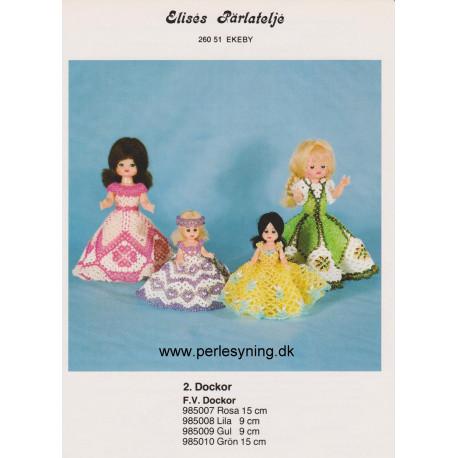 Brugt 1985 Elises nr. 985007 rosa kjole på 15 cm dukke