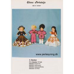 Brugt 1985 Elises nr. 985006 kjole hvid/rød/guld på 17 cm dukke