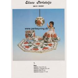 Perlemønster nr 988002 Elises  lygteglas med rose -brugt-