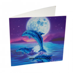 Diamant Kort med delfin i måneskin