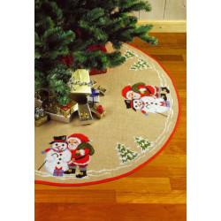 Juletræstæppe: Julemand med snemand