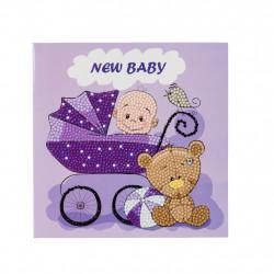 Diamant Kort med baby lilla 18 x 18 cm