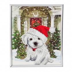Hund med nissehue diamant billedet 21 x 25 cm