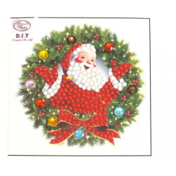 Julekrans med julemand diamant klistermærke