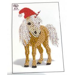 Hest med nissehue diamantklistermærke