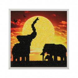 Elefantfamilie 20 x 20 cm diamantbilledet