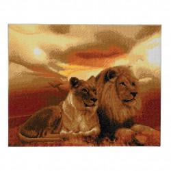 Løver på savanne diamantbilledet 40 x 50 cm
