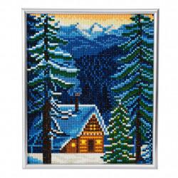 Hus i vinterlandskab diamant billedet 21 x 25 cm