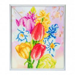 Buket med blomster diamant billedet 21 x 25 cm