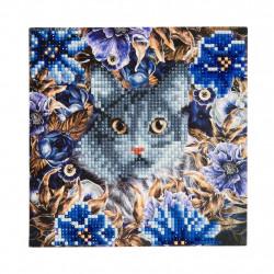 Diamant Kort- Kat i blomster