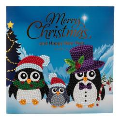 Pingvinfamilie  diamantkort 15 x 15 cm