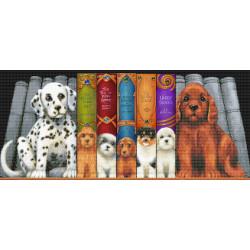 Hunde på bogrække  40 x 90 cm