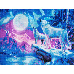 Ulve i sne diamantbilledet 40x 50 cm