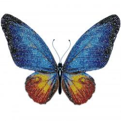 Perlebroderi : Blå sommerfugl
