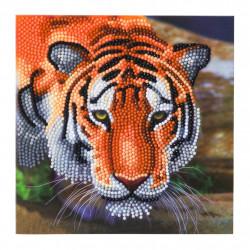 Diamant Kort med tiger 18 x 18 cm