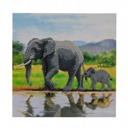 Diamant Kort med elefant 18 x 18 cm