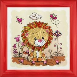 Løve 18 x 18 cm diamantbillede