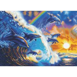 Delfiner rider på bølgen 65 x 90 cm