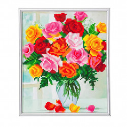 Blomster  diamant billede 21 x 25 cm
