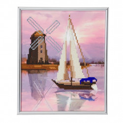 Vindmølle / båd diamant billede 21 x 25 cm