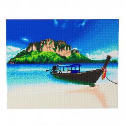 Båd på tropisk strand  40 x 50 cm diamant billede