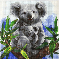 Koala med unge 30 x 30 cm diamantbillede
