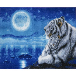 Hvid tiger med unge  40 x 50 cm diamantbilledet