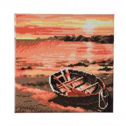 Båd på stranden  30 x 30 cm diamantbillede