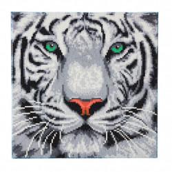 Hvid tiger 30 x 30 cm diamant billede