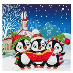 Pingviner Julekor - Diamant Julekort 18 x 18 cm