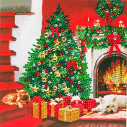 Juletræ - Diamant Julekort 18 x 18 cm