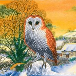 Vinter Ugle - Diamant Julekort 18 x 18 cm