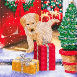 Labrador hvalp med julegave - Diamant Julekort 18 x 18 cm
