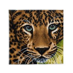 Leopard hoved 30 x 30 cm diamant billede