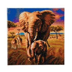 Elefant med unge  30x30 cm