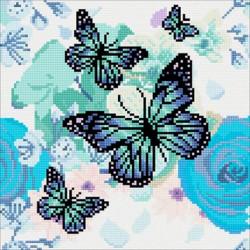 Sommerfugl med blomster  30x30 cm