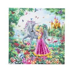 Prinsesse og enhjørning - 30 x 30 cm Diamantbillede
